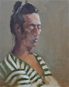 Impressionism art,People art,oil painting,Man in Stripe Shirt