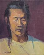 expressionism art,people art,oil painting,Man in Yellow Shirt