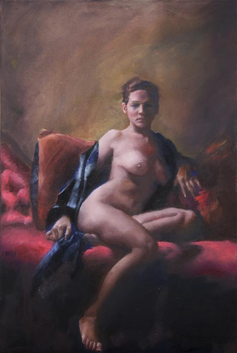 Original art for sale at UGallery.com | Stephanie Seated by JOHN KELLY | $2,100 | Oil painting | 30' h x 20' w | ..\art\oil-painting-Stephanie-Seated