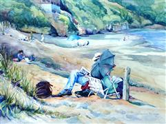 People art,Seascape art,watercolor painting,Together at the Beach