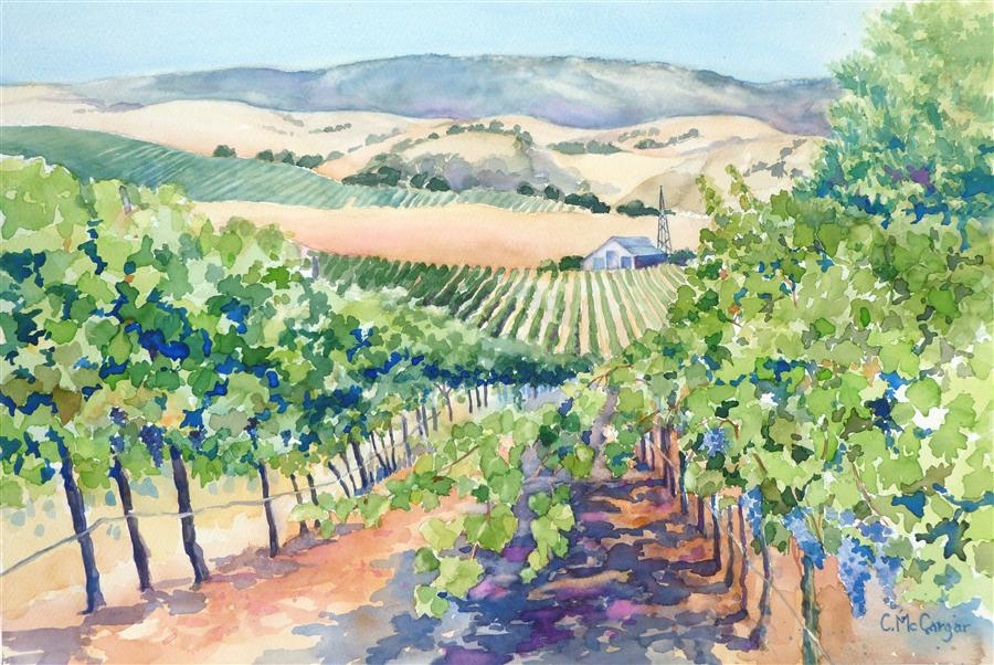 Original art for sale at UGallery.com | Livermore Valley Vineyard by CATHERINE MCCARGAR | $650 |  | 12' h x 18' w | ..\art\watercolor-painting-Livermore-Valley-Vineyard