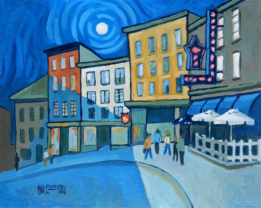 Original art for sale at UGallery.com | Street in Old Quebec City by ROBERT  HOLEWINSKI | $825 | Oil painting | 16' h x 20' w | ..\art\oil-painting-Street-in-Old-Quebec-City