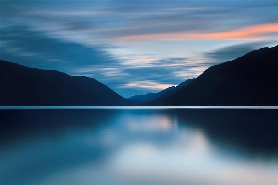 Original art for sale at UGallery.com | Dusk at Lake Crescent by Katherine Gendreau | $350 | photography | 36' h x 24' w | ..\art\photography-Dusk-at-Lake-Crescent