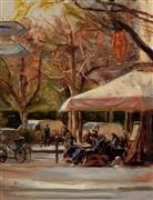 Impressionism art,Landscape art,City art,oil painting,Sidewalk Cafe in Paris II