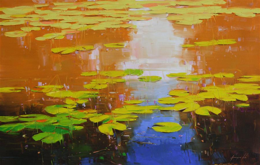 Original art for sale at UGallery.com | Nymphaeas Tropical Waterlily by Vahe Yeremyan | $2,000 | oil painting | 27' h x 44' w | ..\art\oil-painting-Nymphaeas-Tropical-Waterlily