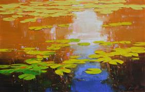 Abstract art,Impressionism art,Nature art,Flora art,oil painting,Nymphaeas Tropical Waterlily