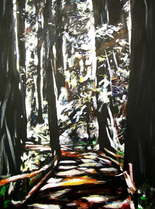 Original art for sale at UGallery.com | Redwoods #4 by CHRIS WAGNER | $2,625 | Acrylic painting | 48' h x 36' w | ..\art\acrylic-painting-Redwoods-4