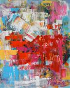 Abstract art,Expressionism art,acrylic painting,Red Rover