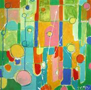abstract art,children's art,landscape art,acrylic painting,Property Lines I