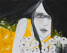 Expressionism art,People art,acrylic painting,Hope and Flowers