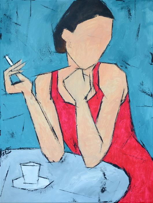 Original art for sale at UGallery.com | Coffee and Cigarette by TANYA GRABKOVA | $925 | Acrylic painting | 24' h x 18' w | ..\art\acrylic-painting-Coffee-and-Cigarette