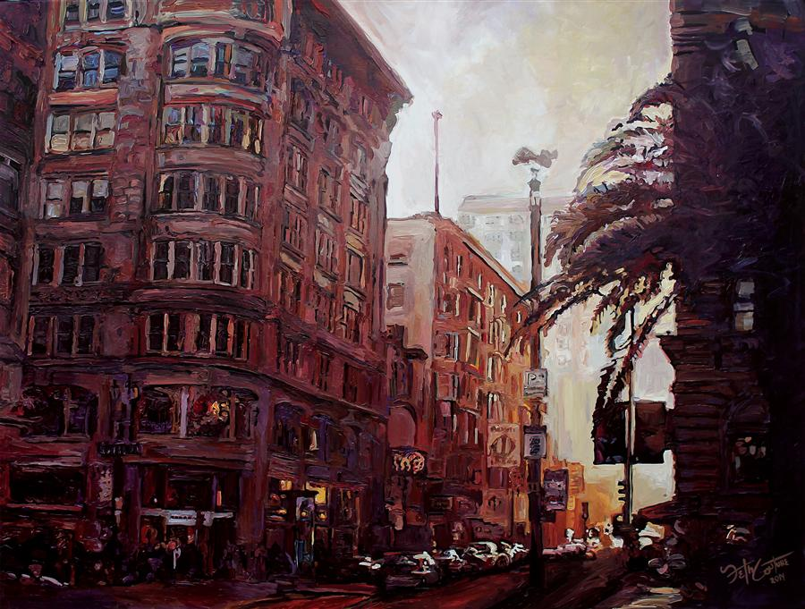 Original art for sale at UGallery.com | Union Square, Looking West on Geary and Powell by SETH COUTURE | $2,900 |  | 36' h x 48' w | ..\art\acrylic-painting-Union-Square-Looking-West-on-Geary-and-Powell