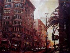 buildings art,impressionism art,city art,travel art,acrylic painting,Union Square, Looking West on Geary and Powell