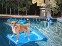 Animals art,Pop art,oil painting,Bunny at Chez Byrd