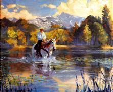 Animals art,Landscape art,Western art,oil painting,Wading Upstream