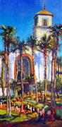 Architecture art,Impressionism art,Religion art,Travel art,oil painting,Union Station in Los Angeles (Sunny Day)
