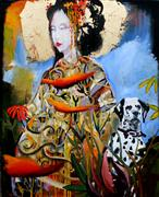 Expressionism art,Animals art,People art,mixed media artwork,Geisha with a Red Flower