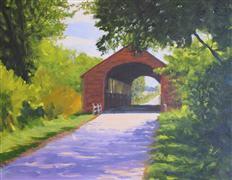 Architecture art,Impressionism art,Landscape art,oil painting,The Holdingford Bridge