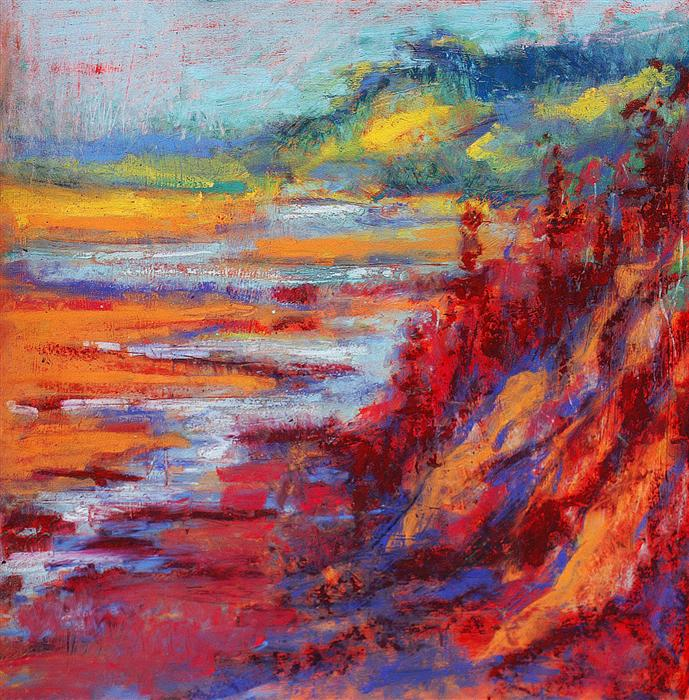 Original art for sale at UGallery.com | Red Cliffs at Dawn by SARAH BETH GONCAROVA | $425 |  | 10' h x 10' w | ..\art\pastel-artwork-Red-Cliffs-at-Dawn