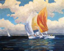 Seascape art,Vroom Vroom! art,oil painting,Dueling Spinnakers