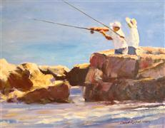 impressionism art,people art,oil painting,Catalina Fishing
