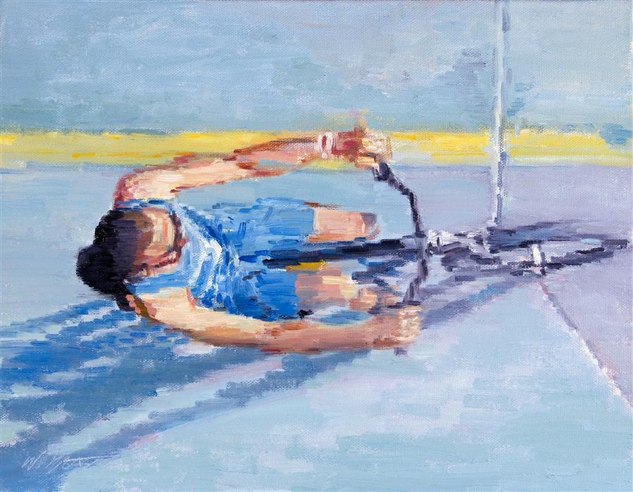 Original art for sale at UGallery.com | Man Bicycling on the Beach in Santa Monica by WARREN KEATING | $650 | Oil painting | 11' h x 14' w | ..\art\oil-painting-Man-Bicycling-on-the-Beach-in-Santa-Monica