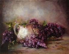Impressionism art,Still Life art,Flora art,oil painting,Lilacs and White Jug