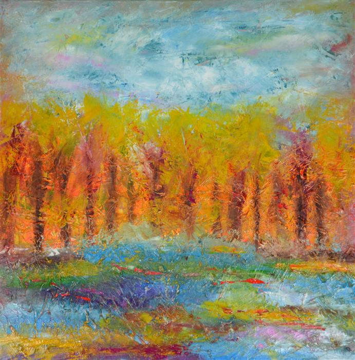 Original art for sale at UGallery.com | Fall by CHELSEA TIKOTSKY | $850 | Oil painting | 24' h x 24' w | ..\art\oil-painting-Fall-34281