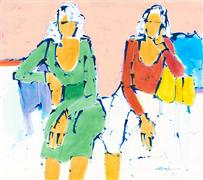 Expressionism art,People art,acrylic painting,Girl Talk