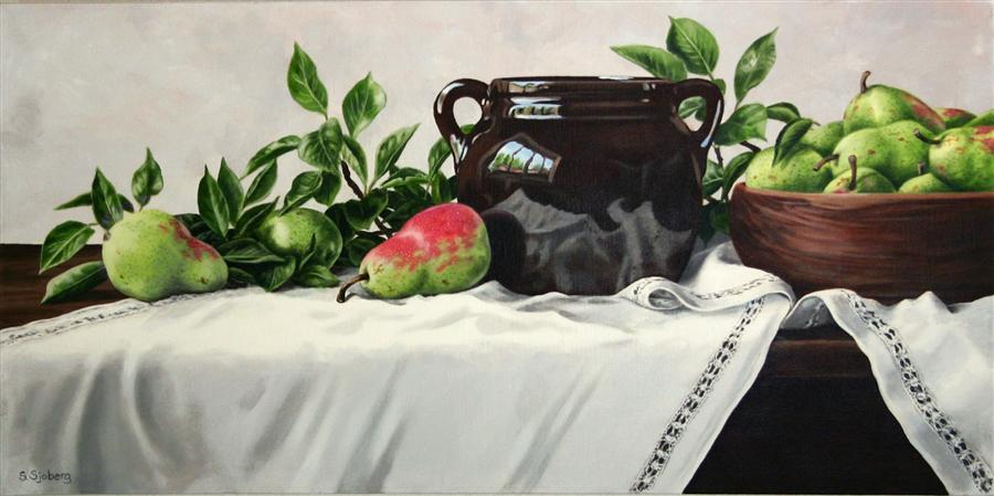 Original art for sale at UGallery.com | Still Life with Pears by SUSAN SJOBERG | $2,175 | Acrylic painting | 18' h x 36' w | ..\art\acrylic-painting-Still-Life-with-Pears