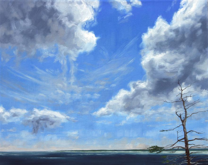 Original art for sale at UGallery.com | The Sky Over Grand Manan by JAY JENSEN | $925 | Oil painting | 16' h x 20' w | ..\art\oil-painting-The-Sky-Over-Grand-Manan