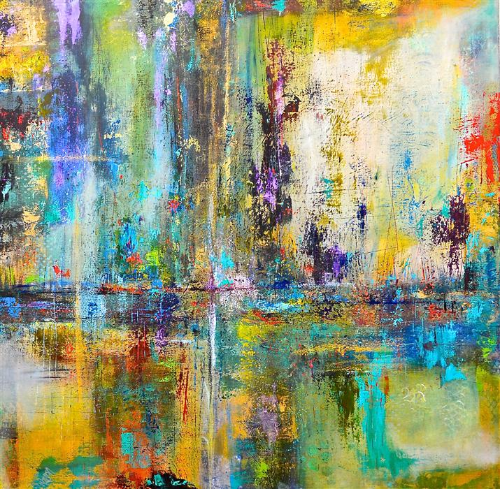 Original art for sale at UGallery.com | Urban Forest by DL WATSON | $5,725 |  | 48' h x 48' w | ..\art\acrylic-painting-Urban-Forest