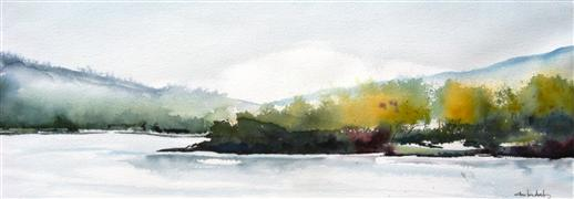 landscape art,nature art,watercolor painting,Misty Morning on the River