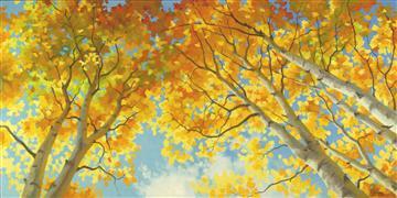 Nature art,Flora art,oil painting,Aspen's Sky High