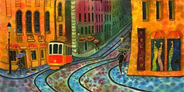 Fantasy art,City art,Travel art,mixed media artwork,Street in Lissbon