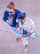 People art,oil painting,Two Women Walking in Santa Monica