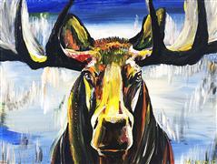Expressionism art,Animals art,acrylic painting,Moose