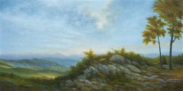 landscape art,nature art,oil painting,Evening Ridge