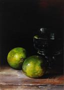 Still Life art,oil painting,Limes and Glass