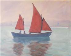 Impressionism art,Seascape art,Vroom Vroom! art,oil painting,Red Sails