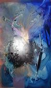 Abstract art,Seascape art,mixed media artwork,At Sea Between Fossils and Satellites 12