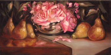 Still Life art,Flora art,oil painting,Roses and Pears