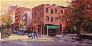People art,City art,oil painting,October Sun, Corner Bistro