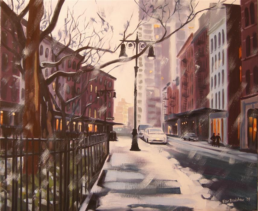 Original art for sale at UGallery.com | Winter's Eve, Duane Park by ELLEN BRADSHAW | $2,825 | Oil painting | 20' h x 24' w | ..\art\oil-painting-Winter-s-Eve-Duane-Park