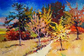 Impressionism art,Landscape art,Representational art,oil painting,Fall, Midday