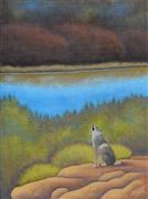 Animals art,Nature art,Western art,Representational art,acrylic painting,Coyote Howl