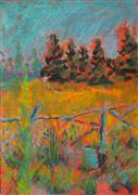 Impressionism art,Landscape art,Representational art,pastel artwork,Driftwood Fence