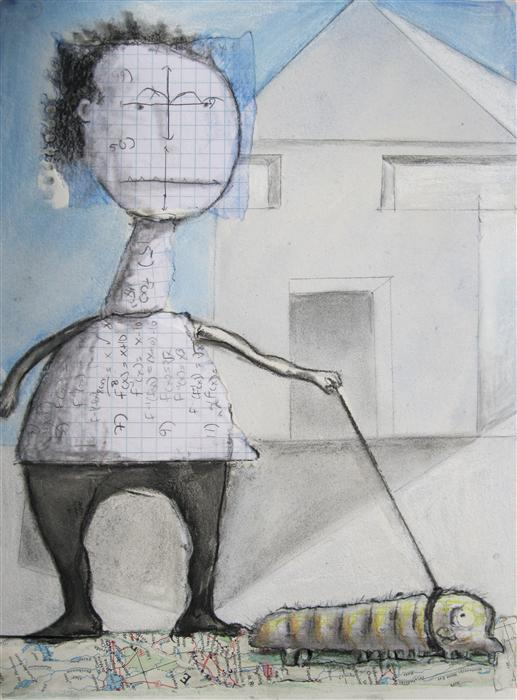 Original art for sale at UGallery.com | Walking the Inch by LIBBY RAMAGE | $425 |  | 12' h x 9' w | ..\art\mixed-media-artwork-Walking-the-Inch