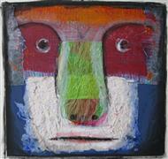 People art,Representational art,Primitive art,mixed media artwork,Cambell's Animal Face