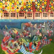 Abstract art,Architecture art,Non-representational art,mixed media artwork,Untitled